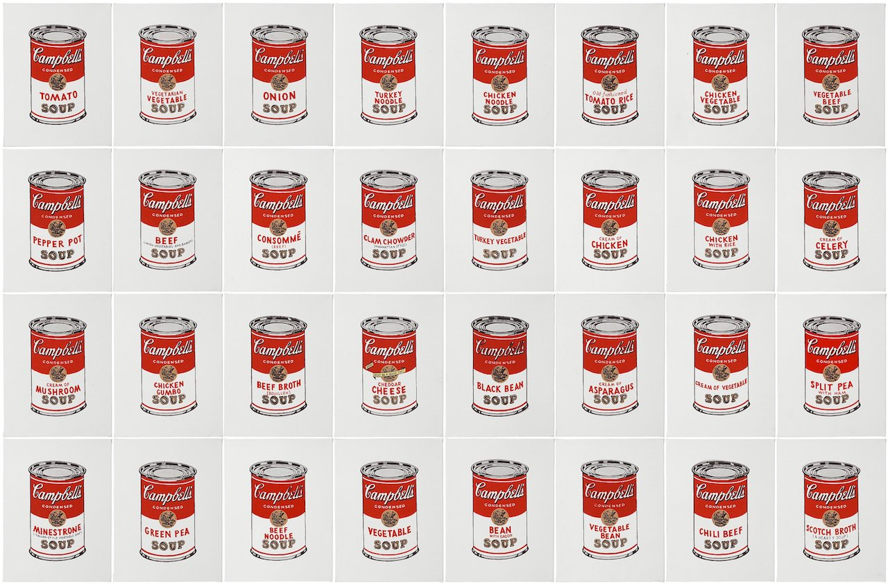 "371. RICHARD H. PETTIBONE, ""ANDY WARHOL, '32 CANS OF CAMPBELL'S SOUP', 1962""."