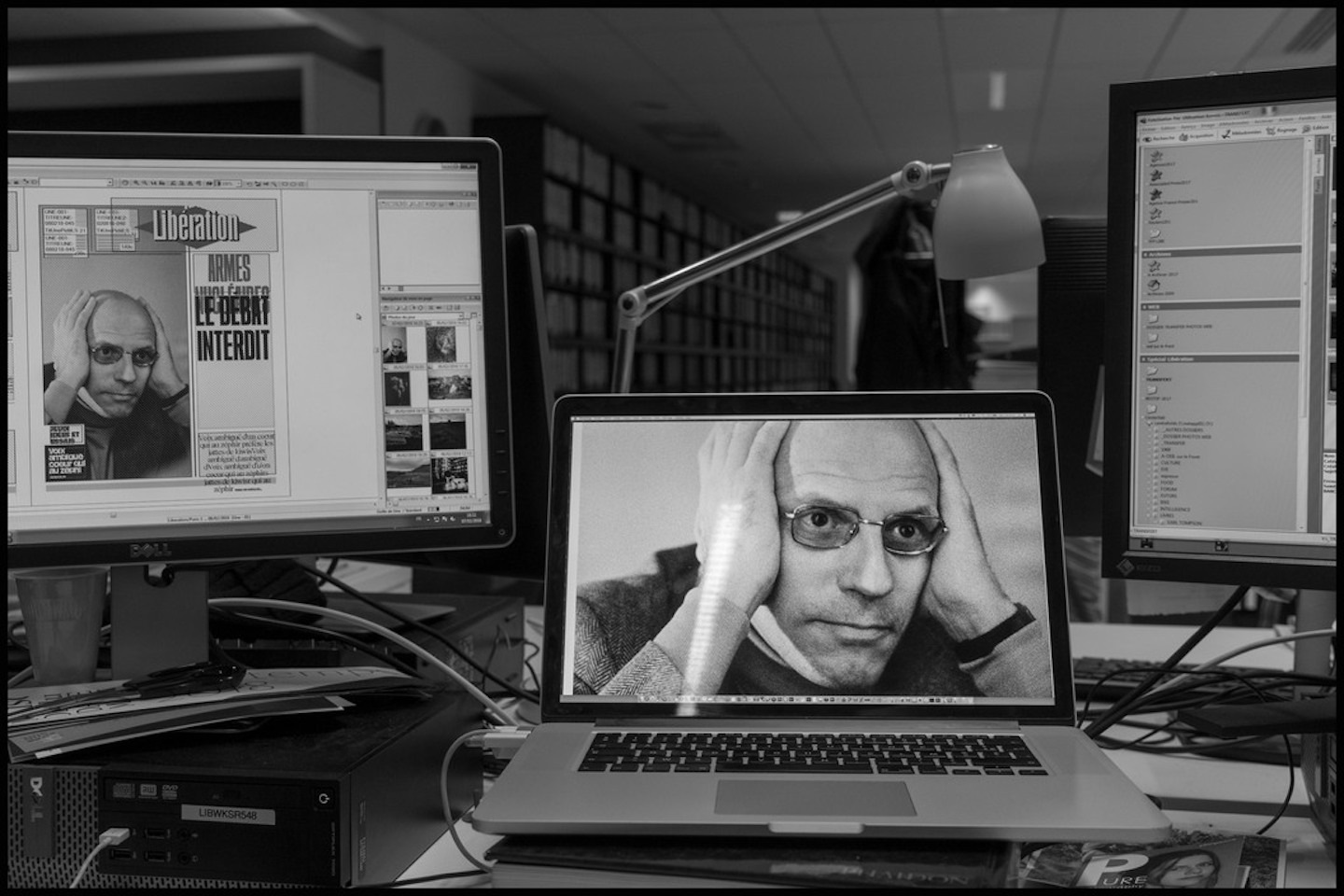 A portrait of French intelllectual and essayist Michel FOUCAULT by AFP photographer Michele BANCILHON to be on the cover of the next morning's edition.