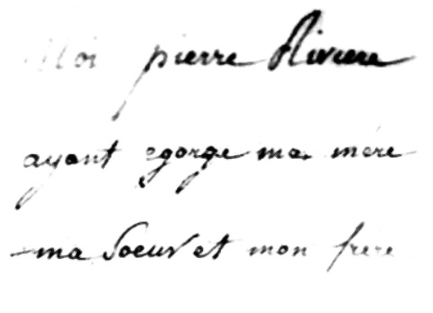 Pierre Riviere's handwriting